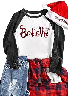 Plus Size Christmas Believe Plaid T Shirts Women Plaid Tree Cute Graphic 3/4 Raglan Sleeve Baseball Tee Tops