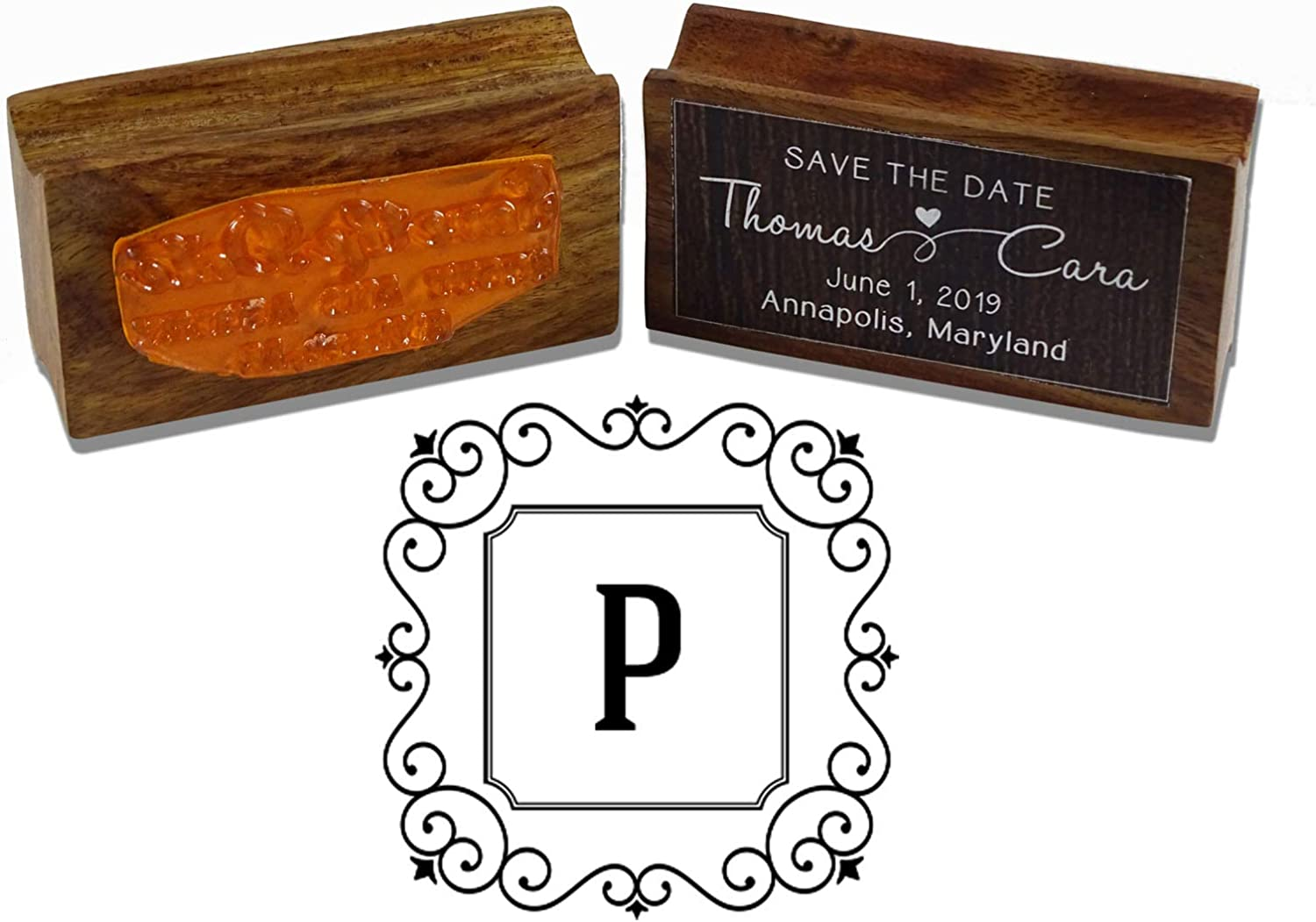 Printtoo Square Swirl Border Letter A Initial Uppercase Monogram Wood Mounted Rubber Stamp