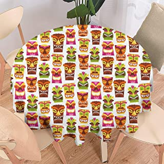 Merry Christmas,Christmas Round Tablecloth,Round Tablecloth for Party,Premium Tablecloth,Tiki Bar Decor,60S Retro Inspired Cute Hawaiian Party Happy Tiki Statues Pattern Colorful-51