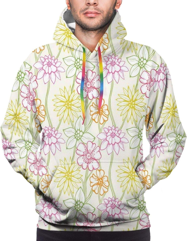 Men's Hoodies Sweatshirts,Hand Drawn Colorful Floral Design Bohemian Inspirations Tribal Leaves