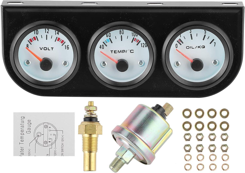Juego de medidor triple, kit universal de medidor triple para coche, temperatura del agua + voltios + medidor de presión de aceite, instrumento de 52 mm con luz