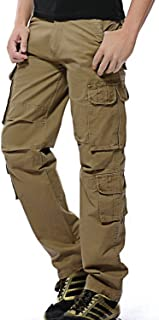 TBMPOY Men's Loose Fit Cotton Casual Cargo Pants Big and Tall Military Trouser with Multi Pockets