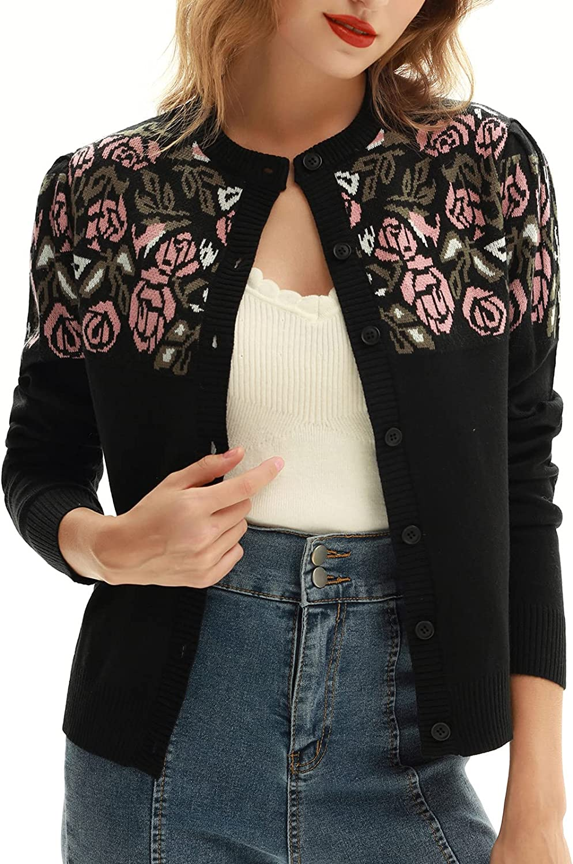 Belle Poque Womens Rose Print Cardigan Sweater Vintage Button Down Crew Neck Cardigan