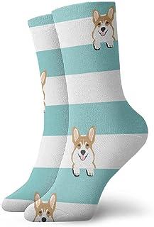 Calcetines de algodón acolchados para entrenamiento, senderismo, caminatas, deportes, para hombres y mujeres, rayas Corgi 4
