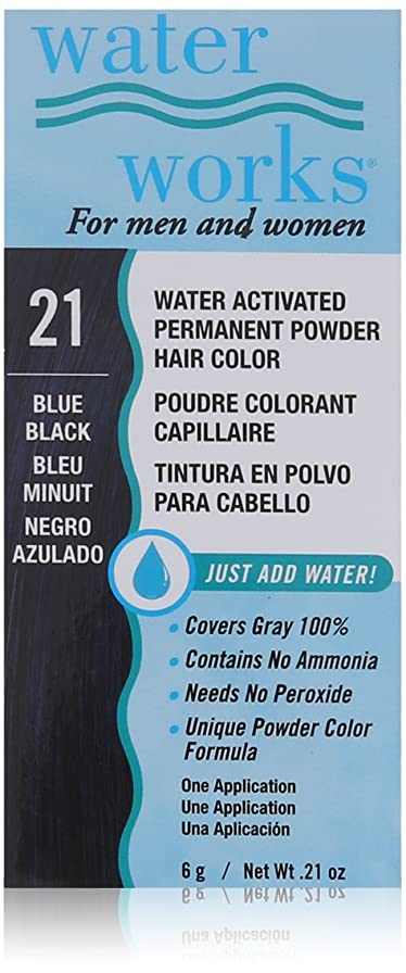 後悔経済博物館Water Works 上水道永久パウダーヘアカラー、ブルーブラック #21ブルーブラック