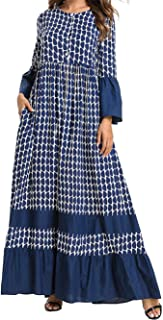 Qianliniuinc Maxi Abaya Long Sleeve Dress-Muslim Women Bandage Loose Robe Plus Size Maternity Clothing Kaftan Turkish