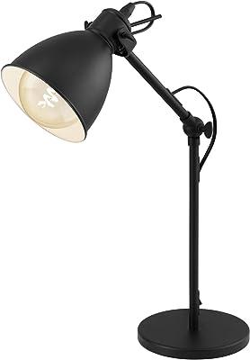 EGLO Lampe de Table Priddy, Lampe à Poser à 2 Flammes au Design Industriel, Lampe Rétro, Lampe de Chevet en Acier, Couleur : Noir, Blanc, Douille : E27, Interrupteur Inclus