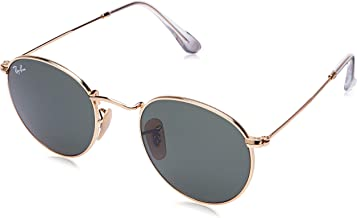 Ray-Ban RB3447 Round Metal Sunglasses, Gold/Green, 47 mm