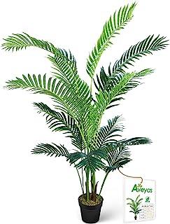 Aveyas 5ft Artificial Kentia Areca Palm Silk Tree in Plastic Nursery Pot, Fake Tropical..