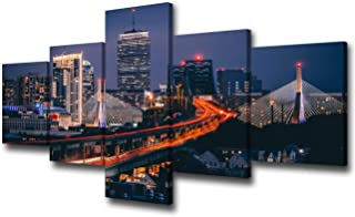 Room Wall Pictures Boston Skyline at Night Decor United States Cityscape Paintings 5 Piece Canvas Modern Artwork Home Decor for Living Room Framed Gallery-wrapped Stretched Ready to Hang(50''Wx24''H)