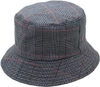 Women Plaid Fisherman Bucket Hats Packable Reversible Japanese Style