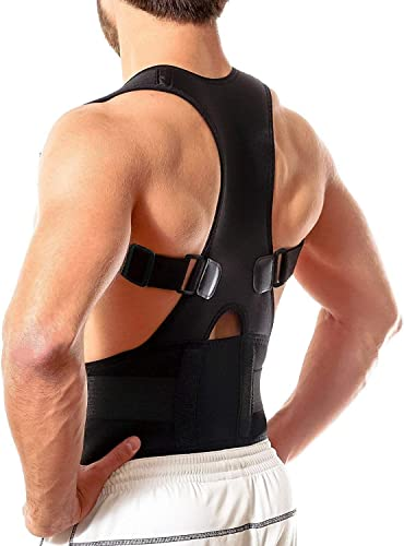 OXY Home Appliance Real Doctor Magnetic Brace Posture Corrector for Lower and Upper Back Pain Shoulder Support Belt for Men and Women Black L XL