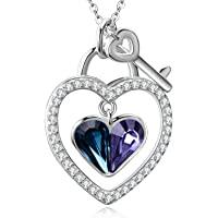 Aoboco Sterling Silver Blue Purple Heart Necklace Heart Lock with Key