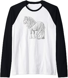 White Dapple Gray Gypsy Vanner Irish Cob Draft Horse Raglan Baseball Tee