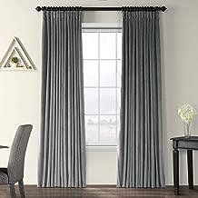 Half Price Drapes VPCH-VET1222-84 Signature Doublewide Blackout Velvet Curtain,Natural Grey,100 X 84