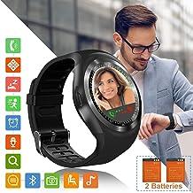 Tipmant Reloj Inteligente Mujer Hombre SN05 Smartwatch Pantalla táctil con Ranura para Tarjeta SIM Podómetro Moviles Buenos Pulsera de Actividad para Android Xiaomi Samsung Huawei (Black)