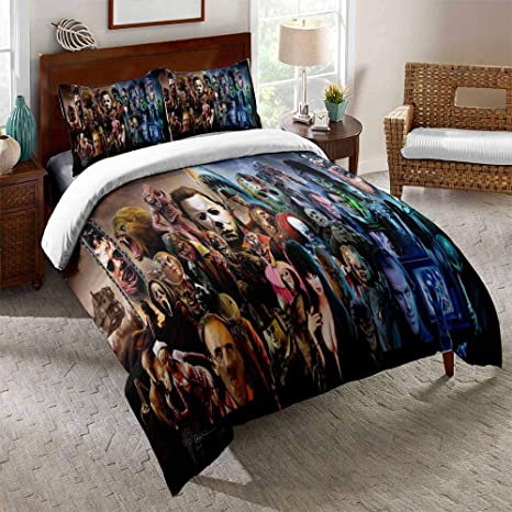 Amazon Com Horror Movie Bedding Sets For Teens Kids Horror Comforter Duvet Cover Set With Pillowcase Soft Microfiber Bedroom Quilt Sets Decor D Queen Kitchen Dining
