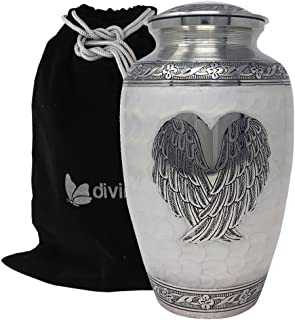 Angel Wings and Heart Cremation Urn - Solid Brass Silver Pearl Loving Angel Wings Urn - Wings of Hope Urn - Wings of Love Ash Urn - 100% Handcrafted Adult Funeral Urn - Large Urn with Free Bag (White)