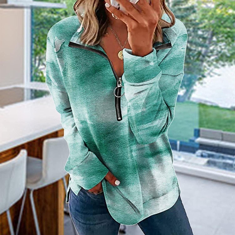 SPOORYYO Womens Zip Up Pullover Sweatshirt Casual Long Sleeve Collar Tie Dye Activewear Loose Fit Tunic Top Pullover