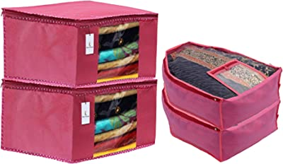 Heart Home Non Woven 2 Pieces Saree Cover/Cloth Wardrobe Organizer and 2 Pieces Blouse Cover Combo Set (Pink) HEART3149