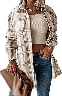 Women's Lapel Long Sleeve Plaid Shirt Pocket Jacket...