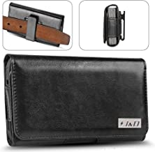 J&D Holster Compatible for Galaxy S10 Plus/S8 Plus/S9 Plus/Galaxy J4 Plus/Galaxy J7 Max Holster, PU Leather Pouch Case with Belt Clip, Leather Wallet Case (Only Fits with Regular/Bulky Case On)