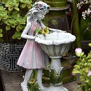 Phonleya Estatua de jardín al aire libre, diseño de hada de flores, decoración solar de resina, para jardín, estatua de en...