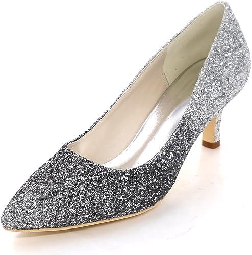Elobaby Femmes Chaussures De Mariage Talons en Satin Dames Bout Fermé Bout Pointu SoiréE Glissement Bal   6cm Talon