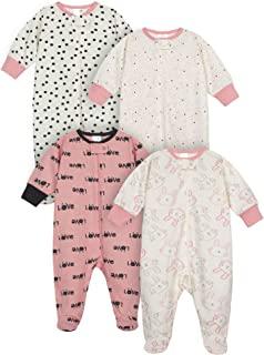 Onesies Brand baby-girls 4-Pack Sleep 'N Play Footies Multi Pack Baby and Toddler Sleepers