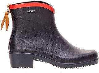 Aigle Womens Miss Juliette Short Black Rubber Boots 38 EU