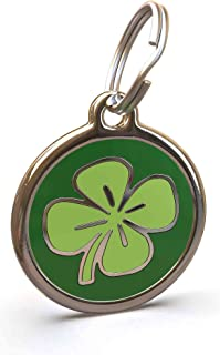 UNLEASHED.DOG Customizable Engraved Cat/Dog ID Tag - Stainless Steel with Clover Enamel Inlay