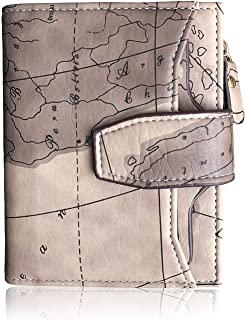 Pofee Womens RFID Small Compact Bifold Zipper Wallet,Ladies Trifold Card Holder Coin Purse with id Window (Light Grey)