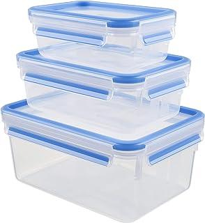 Tefal K3028912 Masterseal Safe Food Container 3-piece Set (0.55 liter, 1.0 liter, 2.3 liter), Clear
