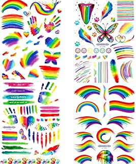 4 Sheet Gay Pride LGBT Rainbow Temporary Tattoos, Rainbow Stickers Temporary Tattoo Body Paint Set, Rainbow Flag Stickers for Gay Pride Parade Celebrations Party Festival Events
