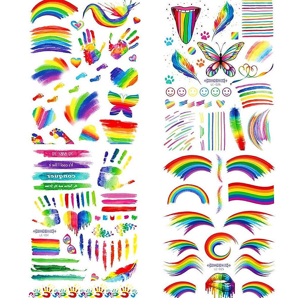 意識快適紀元前4 PCS Gay LGBTレインボー テンポラリー タトゥー 虹ステッカー ボディペイントセット ゲイプライドパレードのお祝いパーティー