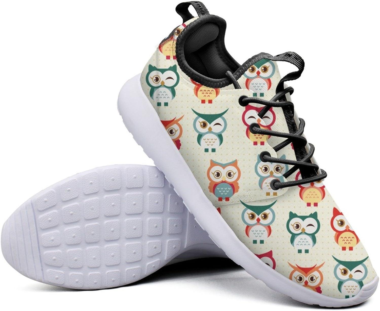 Cartoon Buho Cute Owl Pattern Women's Designer Tennis Sneakers Lightweight Mesh Walking shoes
