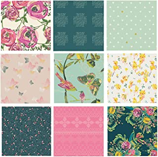 Pink and Green Quilt Fabrics with Birds and Butterflies | Joie de Vivre by Bari J. | Custom Bundle by Art Gallery Fabrics | Painted Artwork Quilt Fabrics | Fat Quarters Bundle (Fat Quarters)