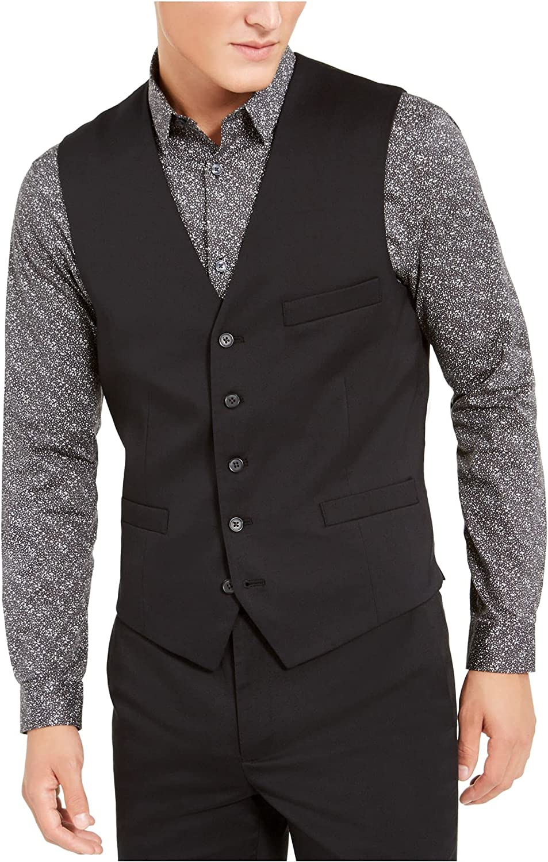 INC Mens Suit Seperates Slim Fit Stretch V-Neck Vest Black XS