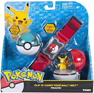 Pokemon Clip and Carry Poke Ball Adjustable Belt with 2 inch Pikachu Figure, Poke Ball, and Grass Type Nest Ball