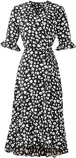 Muzboo Vestido de verano para mujer, cintura alta, de gasa, con flores, cuello en V, para la playa