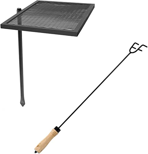 discount Sunnydaze Outdoor Heavy-Duty Steel Adjustable Fire Pit Cooking Grill Grate with 360-Degree Rotating Ability and outlet online sale 26-Inch Indoor/Outdoor Poker Tool with outlet sale Wood Handle Bundle outlet online sale