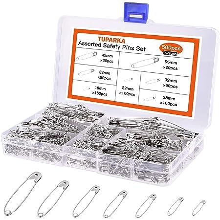 TUPARKA 500Pcs Imperdibles,19 mm a 54mm para uso en el hogar Marca de joyería de arte DIY con caja de almacenamiento (7 Tallas)