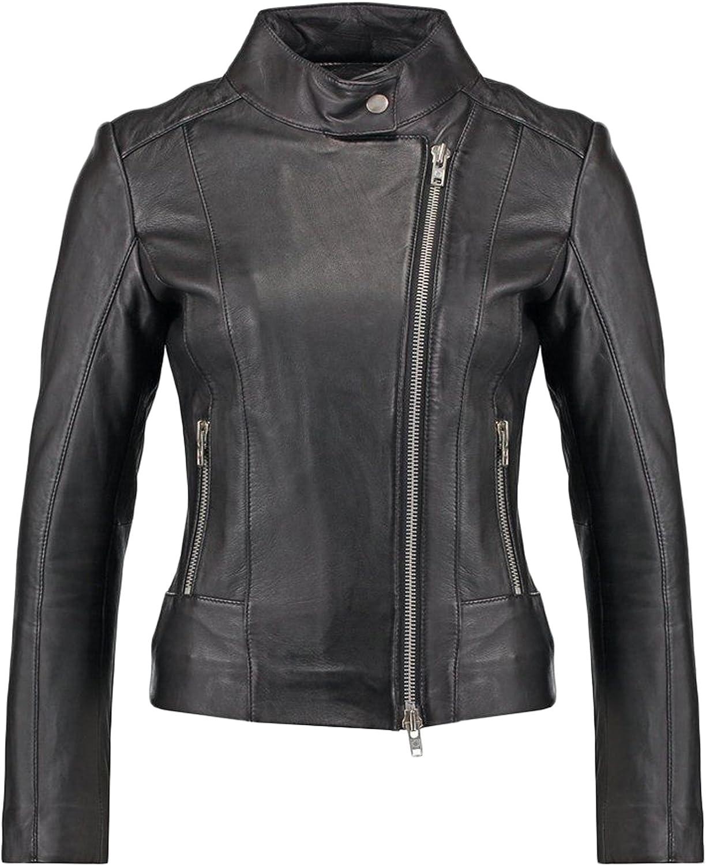 New Women Genuine Real Leather Jacket Ladies Slim Fit Biker Coat LTN595