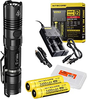 Nitecore Ultimate Bundle P12GT 1000 Lumens Compact Tactical LED Flashlight, Two 3400maH Rechargeable Batteries, Smart Charger and Lumentac Battery Organizer