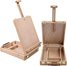 Art Drawing Painting Supply Desktop Table Easel Wooden Sketch Box Portable Adjustable Angle Stand for Artist Student, Made by Durable Solid Beech Hardwood with Round Corner