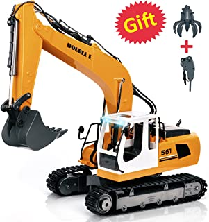 DOUBLE  E 17 Channel Full Functional Remote Control Truck Metal Shovel RC Excavator with 2 Bonus Drill and Grasp