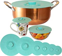 """Silicone Lids Extra Large Teal Set of 6 Sturdy Suction Seal Covers. Universal fit for Pots, Fry Pans, Cups, and Bowls 5"""" to 12"""". Natural Grip Handles Interlock for Easy use and Storage. Food Safe."""