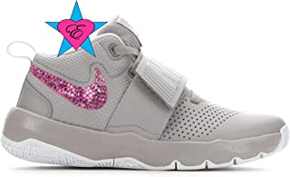 60ad4afff1 Bling Shoes for Girls | Bedazzled Gray Nike Team Hustle D8 | 3.5-7
