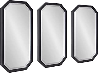 Kate and Laurel Laverty Glam Framed Octagon Mirror, Set of 3, Black, Modern Set of Mirrors for Wall