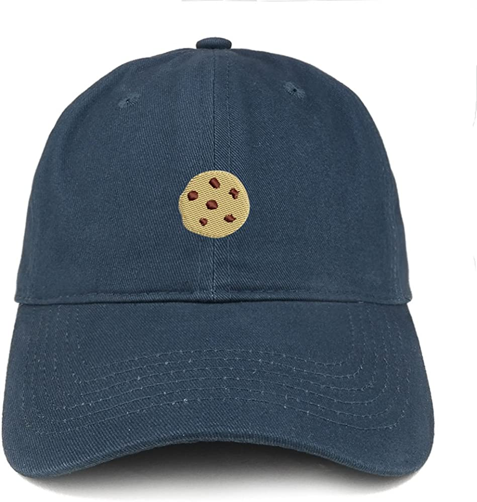 Trendy Apparel Shop Chocolate Chip Cookie Emoticon Embroidered Low Profile Cotton Dad Hat Cap